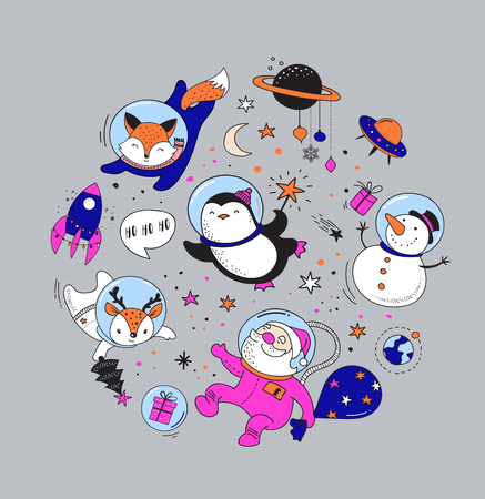 Merry Christmas - Cosmic Xmas, space winter illustrations, Santa, Penguin, Deer, Fox and space ship Illustration