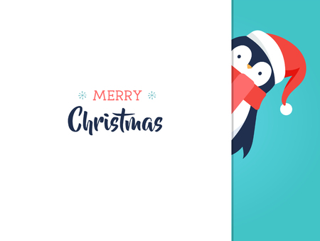 Merry Christmas greeting card with sweet baby penguin