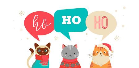 Collezione di gatti natalizi, illustrazioni allegre di gatti carini con accessori come cappelli in maglia, maglioni, sciarpe Archivio Fotografico - 88475686