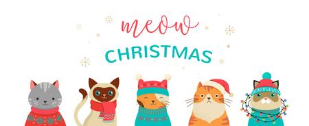 圣诞猫的收集,快乐的圣诞插图可爱的猫与配件,如编织的帽子,毛衣,围巾