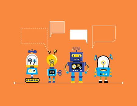 Set of cute vintage robots, banner with robot toys collection
