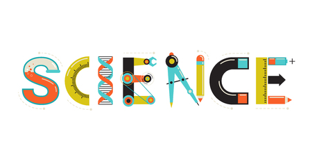 Science banner, typography and background. Technology, engineering, mathematics education concept typography design