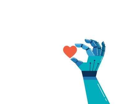 Robotic hand with a red heart, emotional intelligence concept background