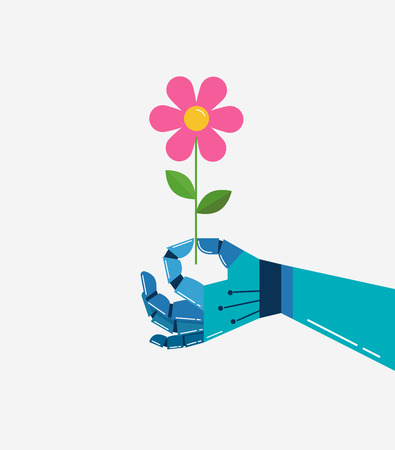 Robotic hand with a flower, vector background, banner