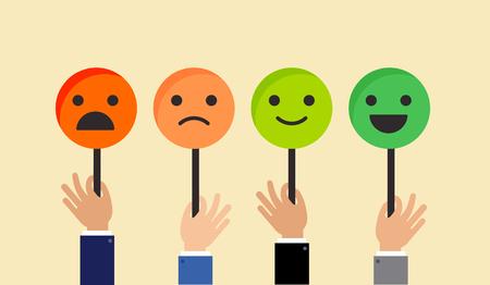 Terugkoppelingsconceptontwerp, de achtergrond van de emotieschaal en banner Stock Illustratie