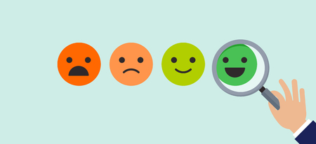 Feedback concept design, emoticons scale background and banner