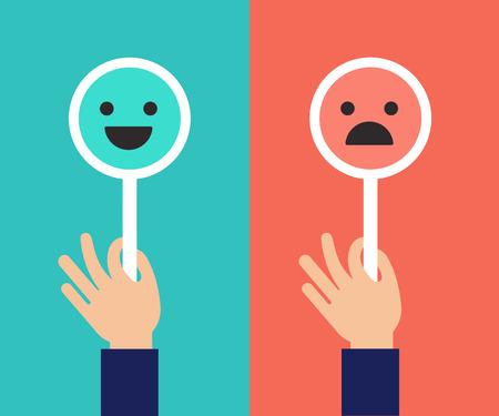 Diseño de concepto de retroalimentación, fondo de escala de emociones y banner