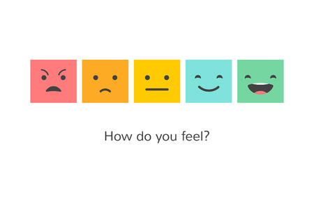 Feedback concept design, emotions scale background and banner Stock Illustratie