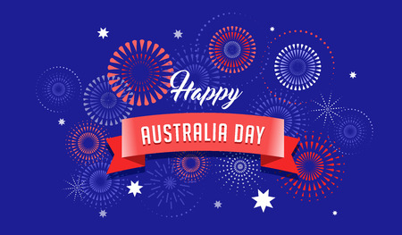 Australia day, fireworks and celebration background, poster, banner Çizim