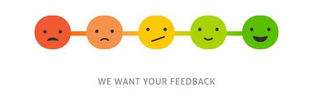 Feedback concept design, emotions scale background and banner Illustration