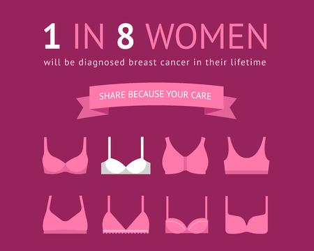 Borstkanker bewustzijn posterontwerp met beha pictogrammen. 1 op 8 vrouwen concept posterontwerp