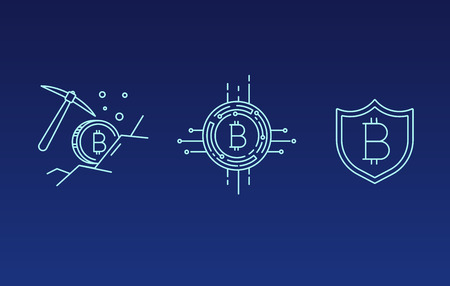 Set of Line Stroke Vector Bitcoin and Cryptocurrency Icons design Zdjęcie Seryjne - 91622738