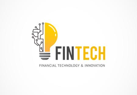 Modern logo concept design of fintech industry, finance digitization, fintech