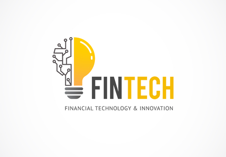 Modern logo conceptontwerp van fintech-industrie, financiële digitalisering, fintech