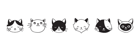 Cute cats collection, vector icons, hand drawn illustrations, banner