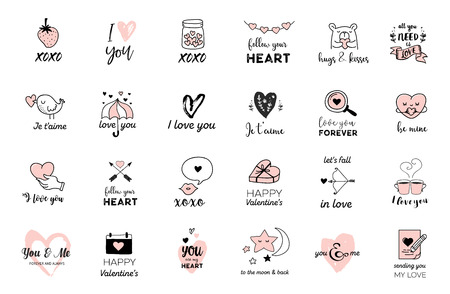 Love doodles, hand drawn illustrations and quotes collection with lettering Stock Illustratie