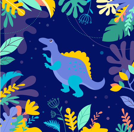Dinosaurs collection, different types of prehistoric animals, cute illustration for children