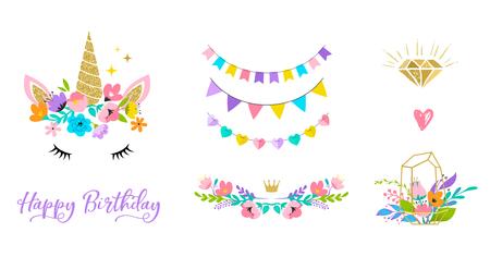 Unicorn cute illustration - card and shirt design