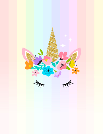 Unicorn cute illustration card and shirt design