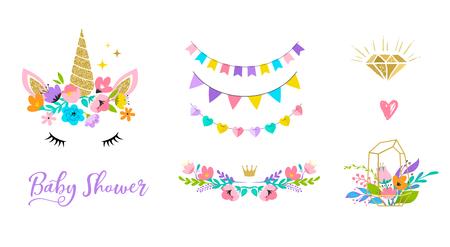 Unicorn cute illustration, card and shirt design.