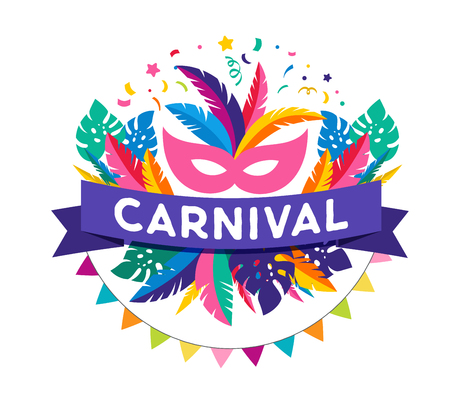 Carnival poster, banner with colorful party elements - masks, confetti, stars and splashes. Festival concept design