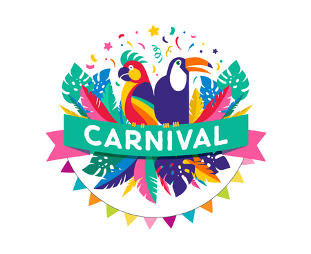 Brazilian Carnival poster, banner with colorful party elements - masks, confetti, toucan, parrot and splashes. Festival concept design