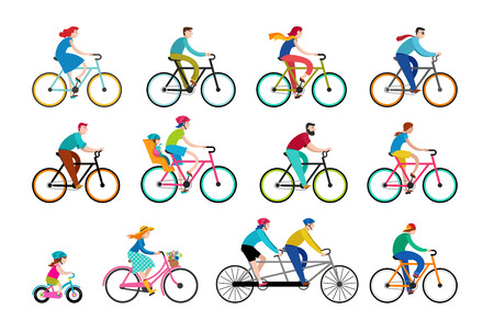 People riding on bicycles in the park, active family vacation. Collection of vector illustrations and elements