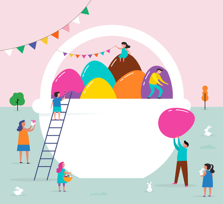 Happy Easter scene with families, kids. Easter street event, festival and fair, banner, poster design  イラスト・ベクター素材