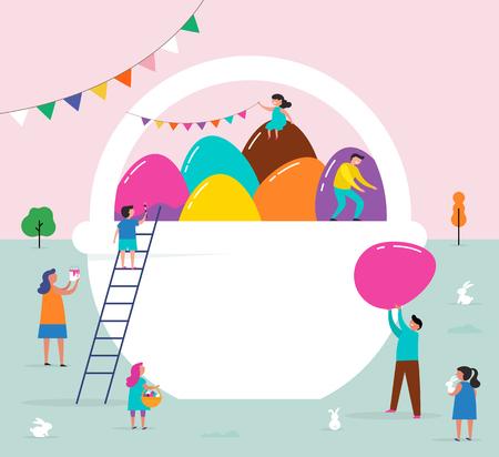 Happy Easter scene met gezinnen, kinderen. Pasen straatevenement, festival en beurs, banner, posterontwerp