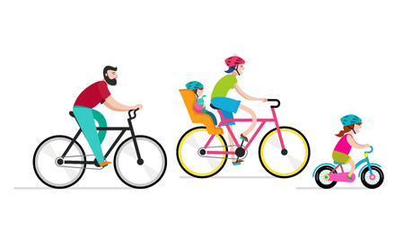 People riding on bicycles in the park, active family vacation. Vector illustration