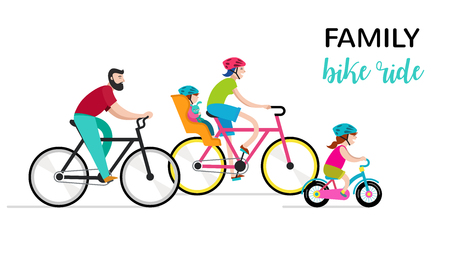 People riding on bicycles in the park, active family vacation vector illustration. Ilustração