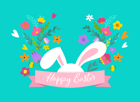 Happy Easter, sweet bunny with flower  design.
