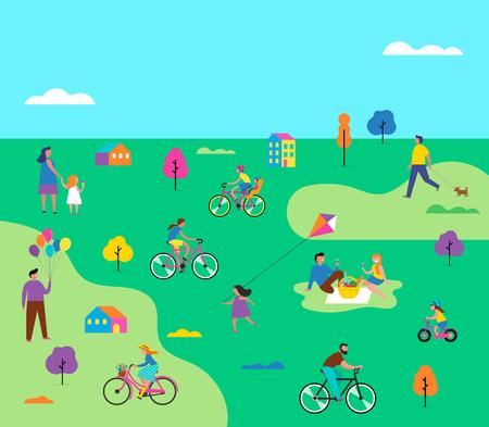 Scena all'aperto estiva con vacanza attiva in famiglia, illustrazione di attività nel parco con bambini, coppie, famiglie, relitti sulla natura, passeggiata con il cane, andare in bicicletta