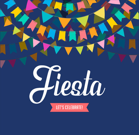 Fiesta poster design with flags, decorations and promotion banner Illustration