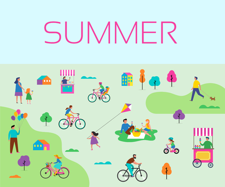 Summer outdoor scene with active family vacation, park activities illustration with kids, couples, families, relaxing on nature, walk with dog, ride bicycles