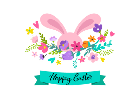 Happy Easter, sweet bunny with flowers design. Easter sale, promotional banner and greeting card holiday concept