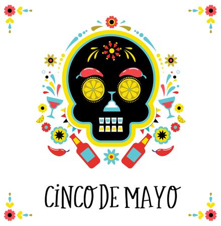 Cinco de Mayo, Mexican fiesta,  greeting card with skull.