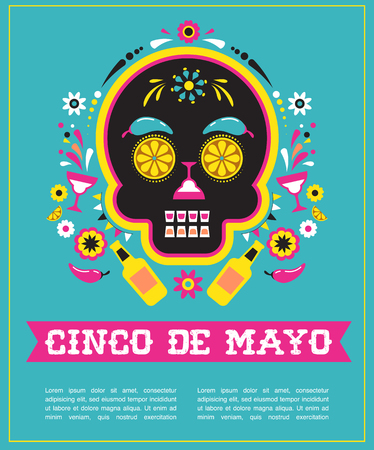 Cinco de Mayo, Mexican fiesta, greeting card with skull.