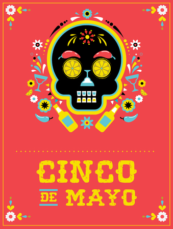Cinco de Mayo, Mexican fiesta, holiday poster, party flyer, greeting card with skull design.
