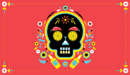 Cinco de Mayo, festa messicana, poster per vacanze, volantino per festa, cartolina d'auguri con teschio.