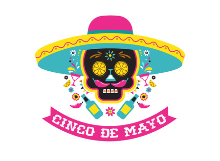 Cinco de Mayo, Mexican fiesta, holiday poster, party flyer, greeting card with skull design. 版權商用圖片 - 96368866