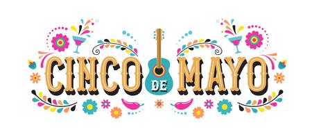 Cinco de Mayo - 5 maja, święto federalne w Meksyku. Projekt banera i plakatu Fiesta z flagami, kwiatami, dekoracjami
