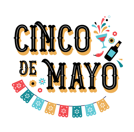 Cinco de Mayo - May 5, federal holiday in Mexico. Fiesta banner and poster design with flags, flowers, decorations 免版税图像 - 97432297