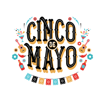 Cinco de Mayo - May 5, federal holiday in Mexico. Fiesta banner and poster design with flags, guitar , decorations Illustration