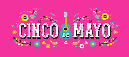 Cinco de Mayo - May 5, federal holiday in Mexico. Fiesta banner and poster design with guitar,  flowers, decorations