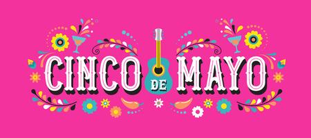 Cinco de Mayo - 5 de mayo, feriado federal en México. Diseño de pancarta y póster de fiesta con guitarra, flores, decoraciones Ilustración de vector