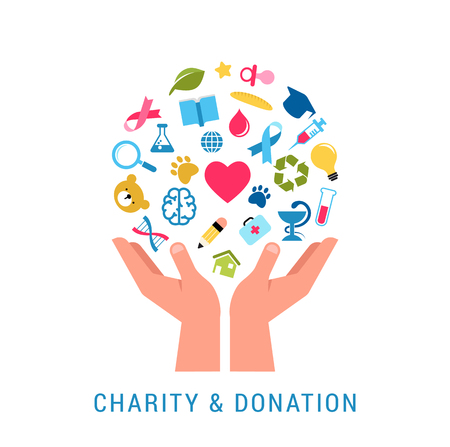 Charity, giving and donation concept poster template