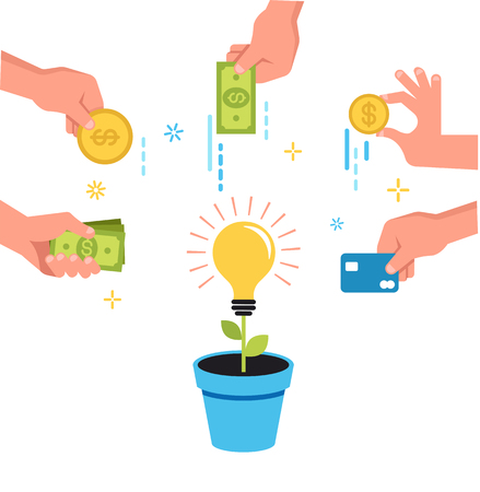 Crowdfunding money concept banner design with money and idea in pot Vectores
