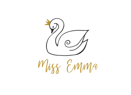 Simple and stylish modern logo and illustration, swan vector hand drawn element, doodle 일러스트