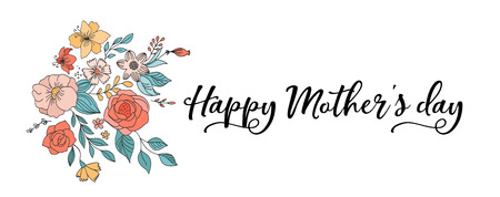 Happy Mother's Day Background, banner and illustration with flowers